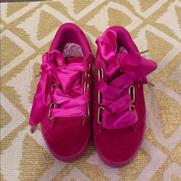 Puma Shoes   Hot Pink Ribbon Sneakers